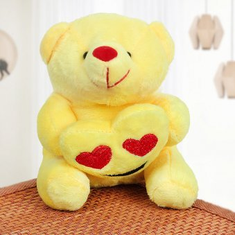 Yellow Teddy with Holding Hearts