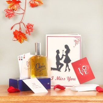 Combo of Charlie Perfume with Love Playing Cards and Greeting Card