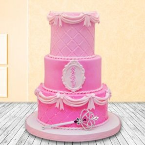 Three tier pink cake for girls