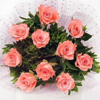 10 Pink Roses Bunch with Zoomed View