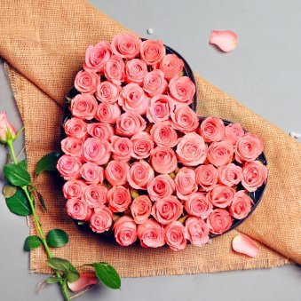 Heart Shape Arrangement of Pink Roses