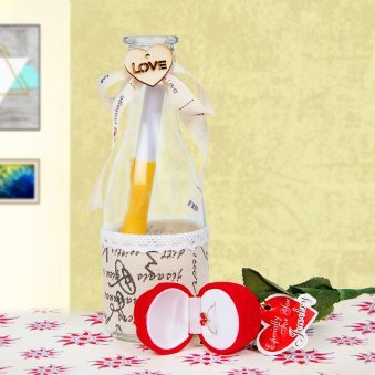 Propose Bottle and a rose with ring combo