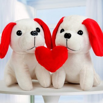 A Pair of Soft Toy Puppies with Heart