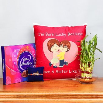 Rakhi and Cushion with Lucky Bamboo and Chocolates Box