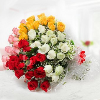 50 Multicolor Roses Bouquet
