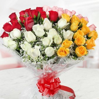 50 Multicolor Roses Bouquet with Front View