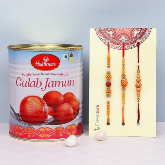 Three Divine Rakhis with Gulab Jamun Combo