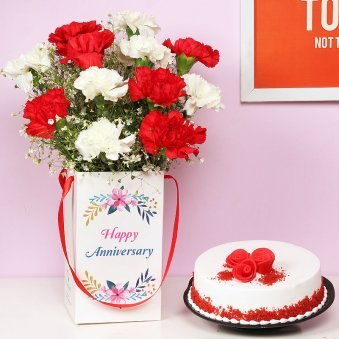 Anniversary Combo of Mixed Carnations and Red Velvet Cake