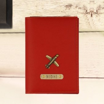Attractive Red Personalized Passport Holder
