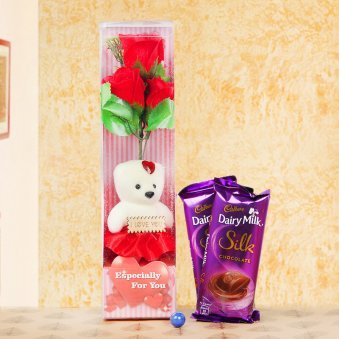 Teddy with rose and chocolates combo