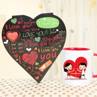 I Love you Heart Shaped Card and a Mug Combo