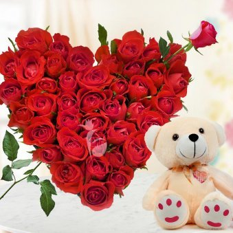 35 Roses in Heart Shape and 12 Inch Teddy