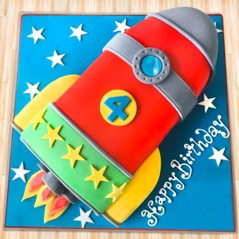Rocket ship birthday fondant cake