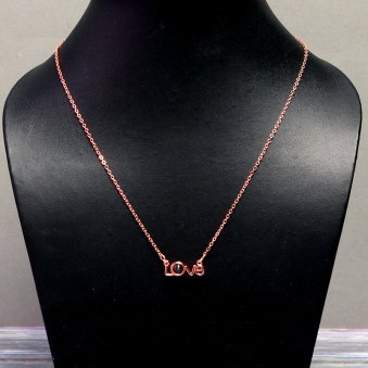Rose Gold Plated LOVE Letter Decorated Long Necklace