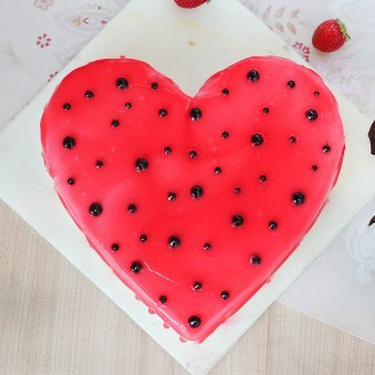 Heart Shaped Strawberry Vanilla Cake - Top View