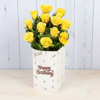 12 Yellow Roses Bunch for Birthday
