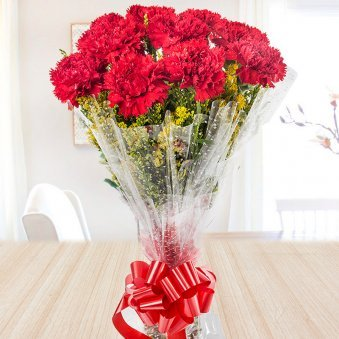 10 red carnations bouquet - A gift of Rouge In Love Combo