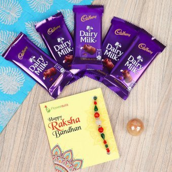 Rakhi with 5 Cadbury Dairy Milk 13 gm