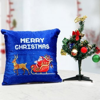 12x12 inches of fluffy blue pillow 1 feet Christmas tree