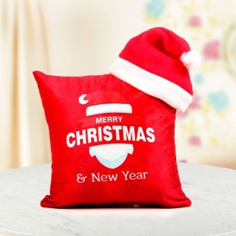 red Santa special cushion - 12x12 inches digitally printed soft cushion paired with a lovely Santa cap