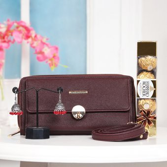 Handbag with Chocolates and Earrings