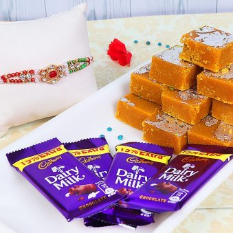 Designer Rakhi with Besan Barfi and Four Dairy Milks