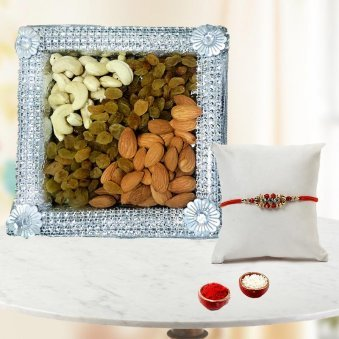 Send Rakhi to Gurgaon with 1/2kg Dry fruits and Rolli Tikka