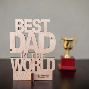 Fathers day Best Dad Wooden Cutout Table Top Showpiece