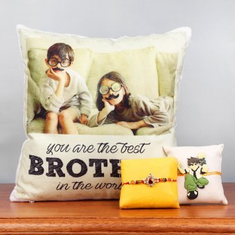 Personalised Cushion with Set of Two Rakhis