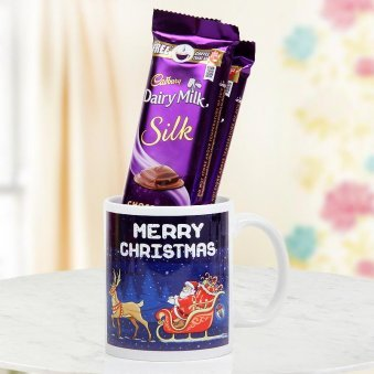 combo of 2 Dairy Milk Silk and a Merry Christmas Mug