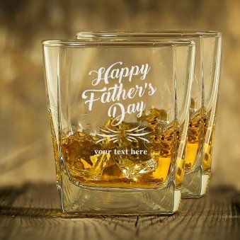 Happy Fathers Day Whiskey Glass