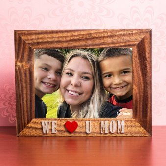 WE louve U Mom 7X9 Inch Wooden Table Top Photo Frame
