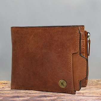 Tan Color Leather Wallet - 11.5X10 cm