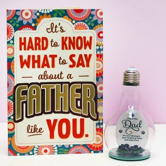 Glass Quotation and Card for Dad