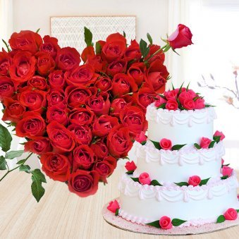 Statuesque Beauty - Combo of 3 tier vanilla cake and bouque of 50 red roses