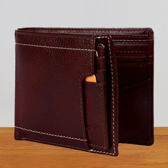 Brown Sterling Leather Wallet - 12X9 cm