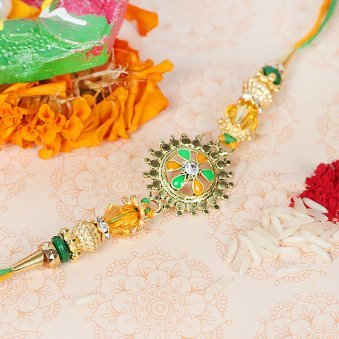 Stone Embedded Round Shaped Rakhi