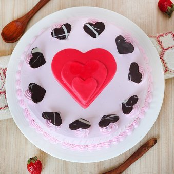 Strawberry Cake with Fondant Hearts - Top View