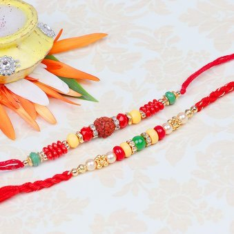 Set of Rudraksh and Fancy Rakhi