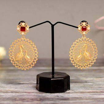 Gold Colour Plated Circular Drop Earring