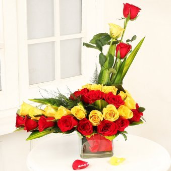 Arrangement of Red and Yellow Roses