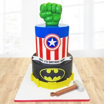 Two tier superhero fondant cake