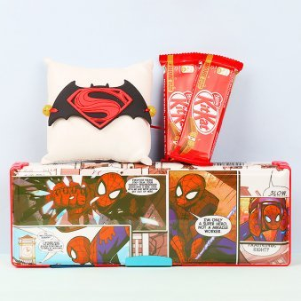 Superhero Rakhi and Pencil Box with Two Kitkats Combo