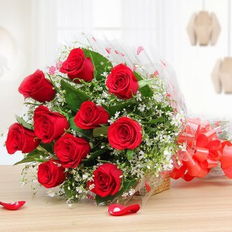 10 Red roses bouquet - Part of Surprising Heartilicious Combo