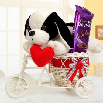 A 10 Inch Soft Toy Puppy with Heart and One Cadbury Dairy Milk Silk Chocolate