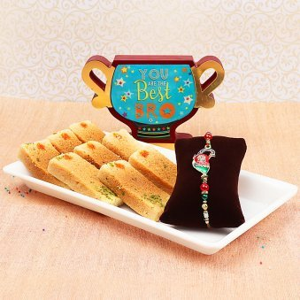 Rakhi with Milk Cake and Trophy for Brother