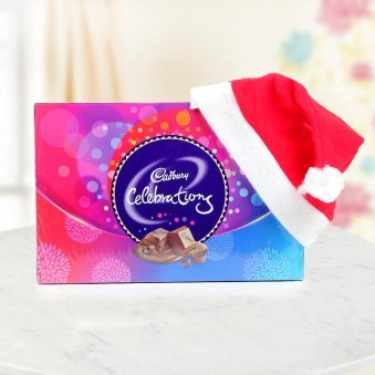 Cadbury Celebrations hamper with a cute Santa Cap