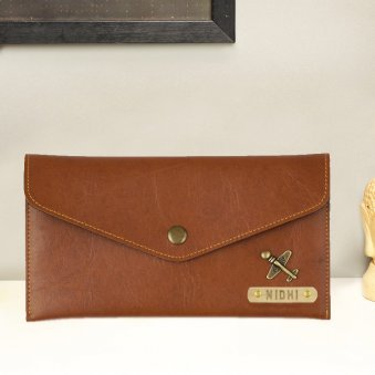 Tan Personalized Button Wallet