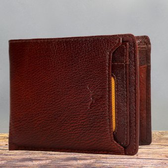 Brown Color Genuine Leather Wallet for Men - 11.5X9.5 cm