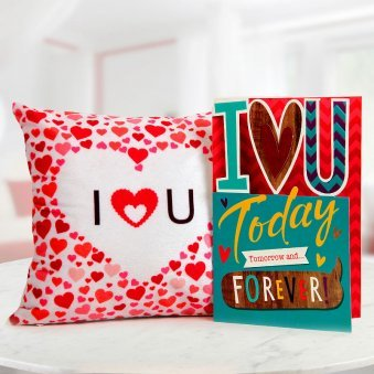 A 12x12 inches I Love You cushion and I Love You Card